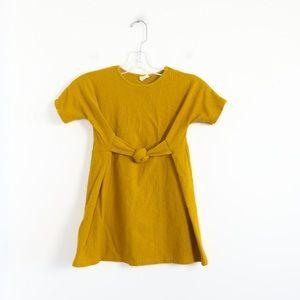 Zara girls mustard yellow textured dress knot 7